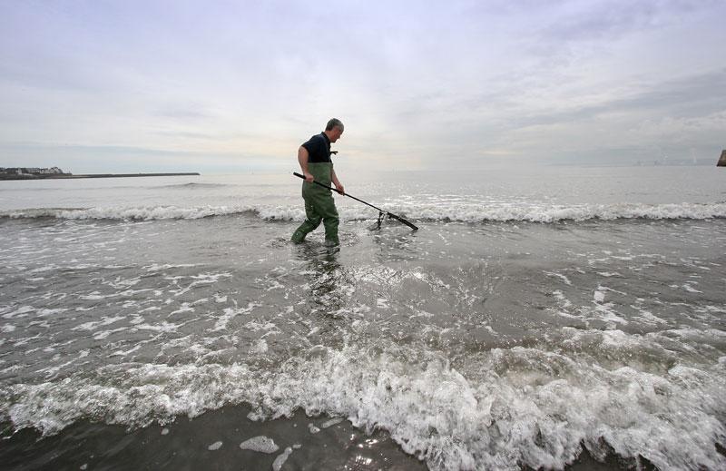 Steve Walker using a push net for shrimps