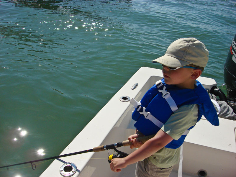 young Connor stands ready for a fish