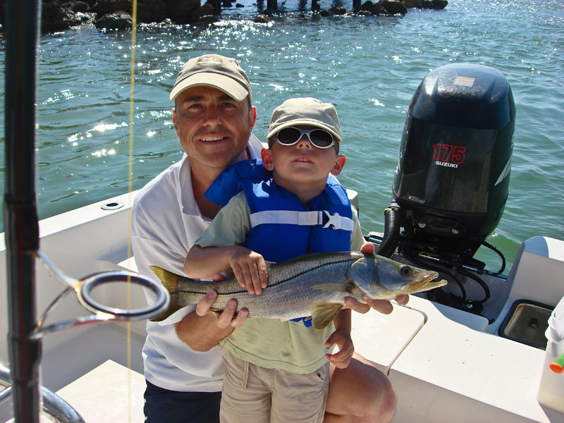 proud Dad Paul and Connor with a Florida snook