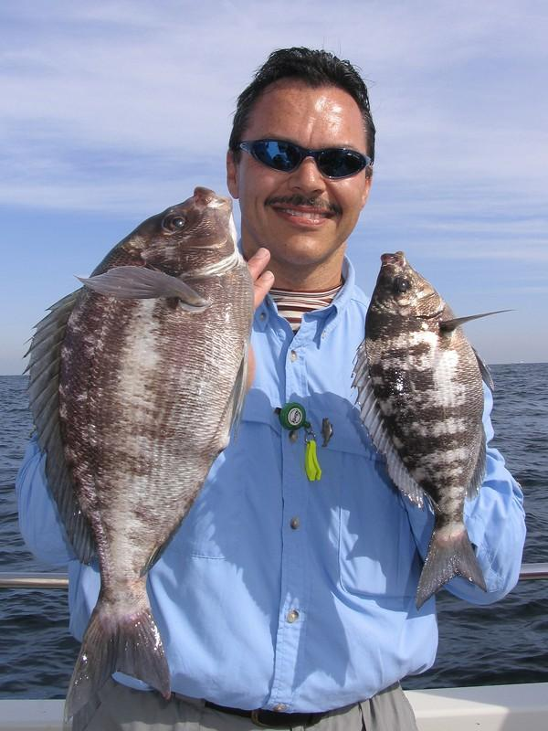 Des Westmore with two black bream