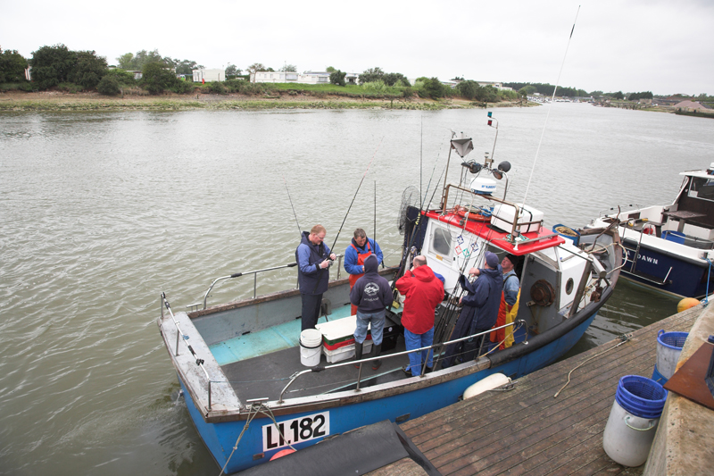 anglers onboard at the Littlehampton quay