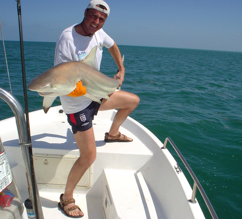 Paul Stevns with a spinner shark
