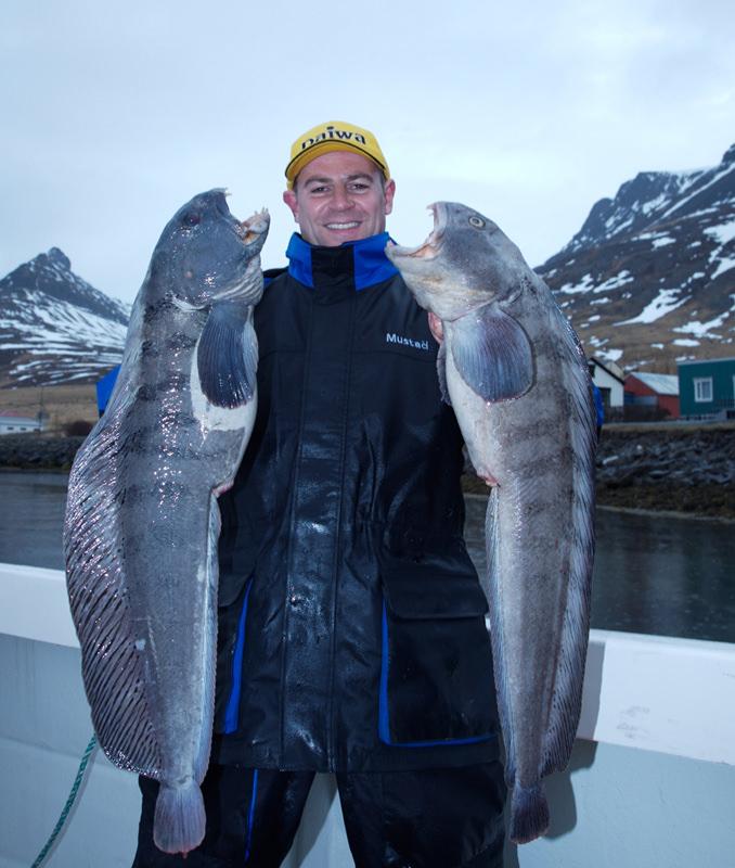 Tony Voss with two Icelandic wolffish