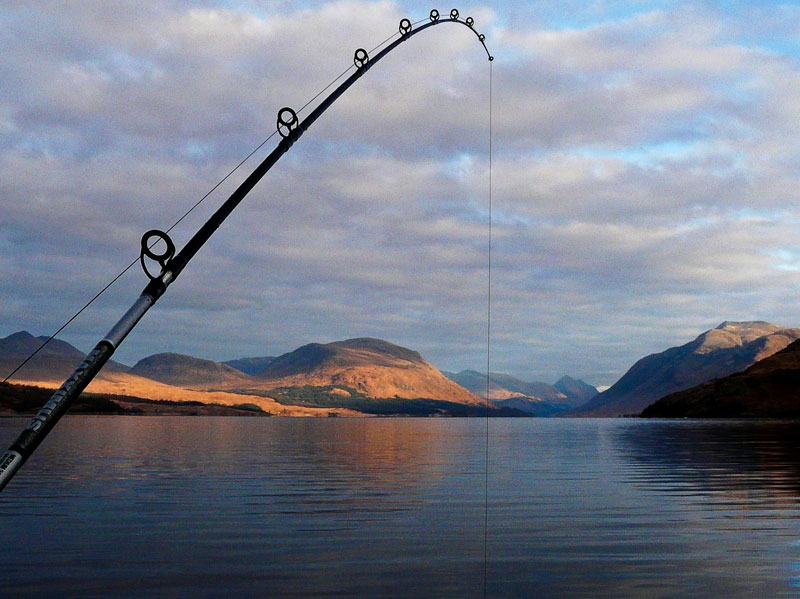 a kayak rod with Loch Etive as backdrop