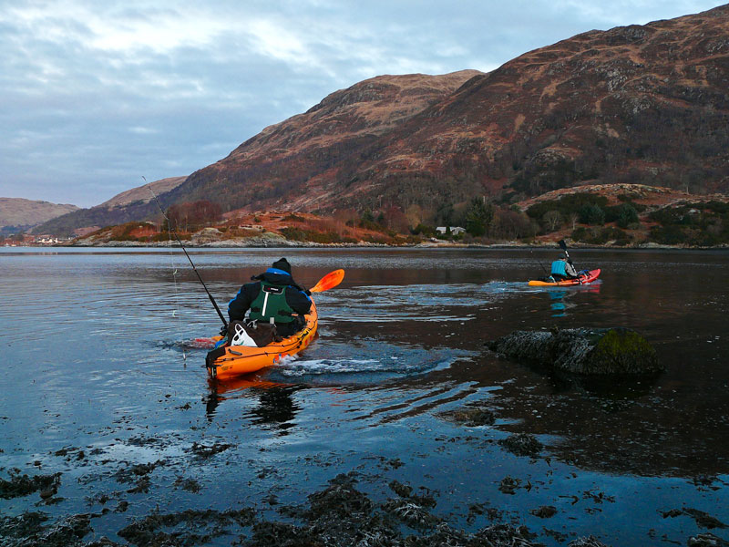 two kayaks heading out on to Loch Etive
