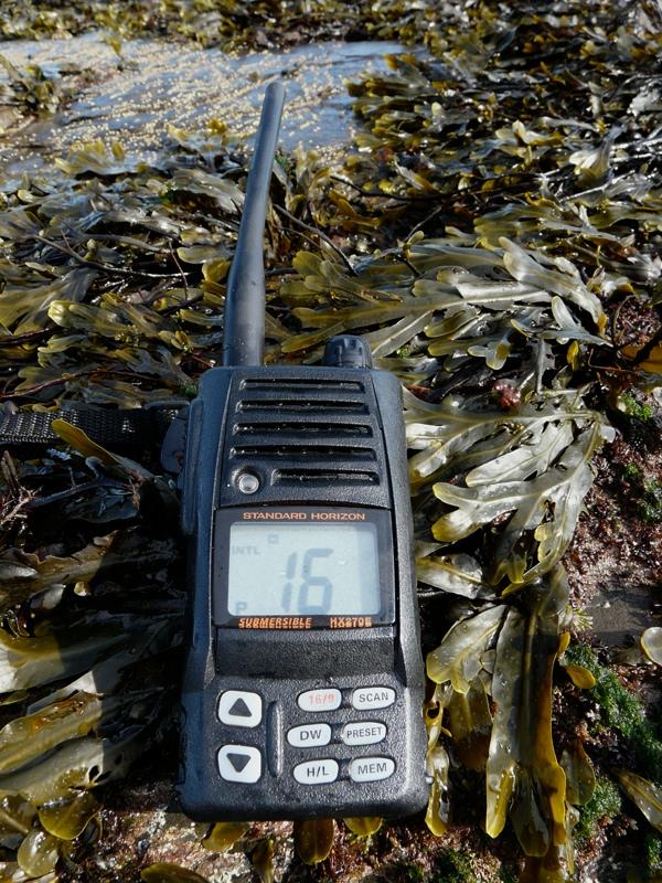 a hand-held waterproof VHF radio
