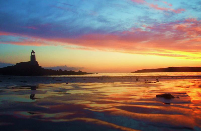 lovely golden sunset over an empty beach