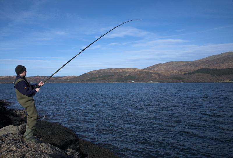 Shaun reels in a fish from Sunart