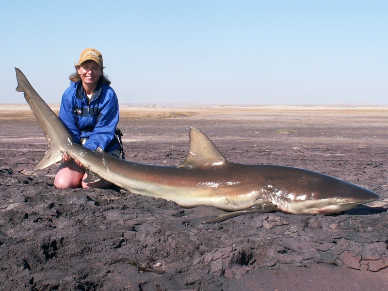 Fieona with a Namibian bronze whaler