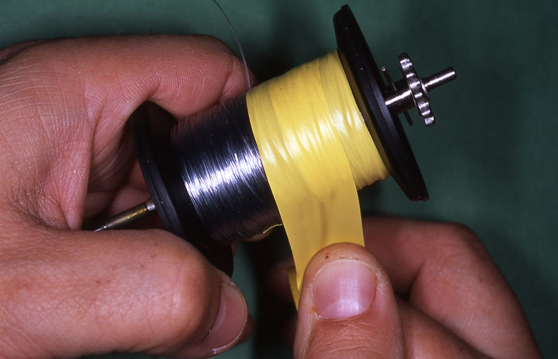 Step 6 - securely spooling a reel with braid