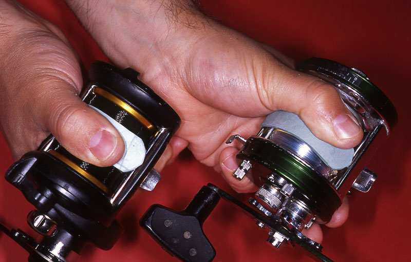 Two reels fitted with anti-slip straps