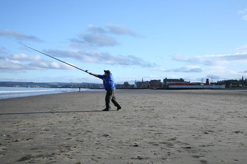 casting with the Daiwa Theory Beach rod