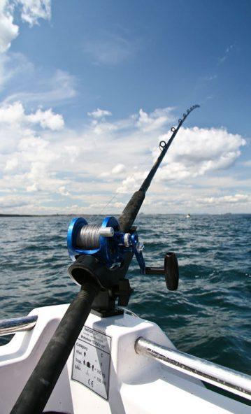 Daiwa 3-piece Kenzaki Braid Special boat rod in a rod holder