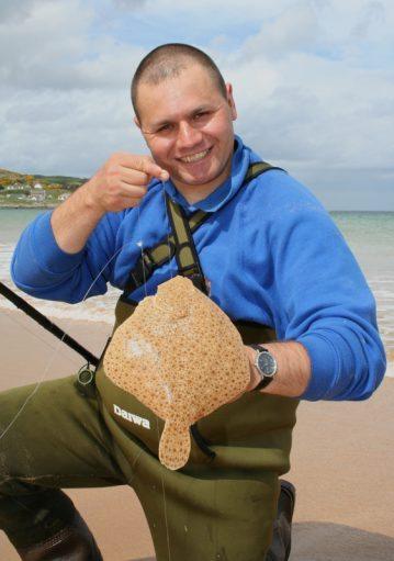 Steve Souter displays a Culdaff beach turbot