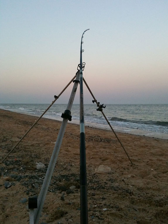 a rod on tripod on Kilgorman Beach