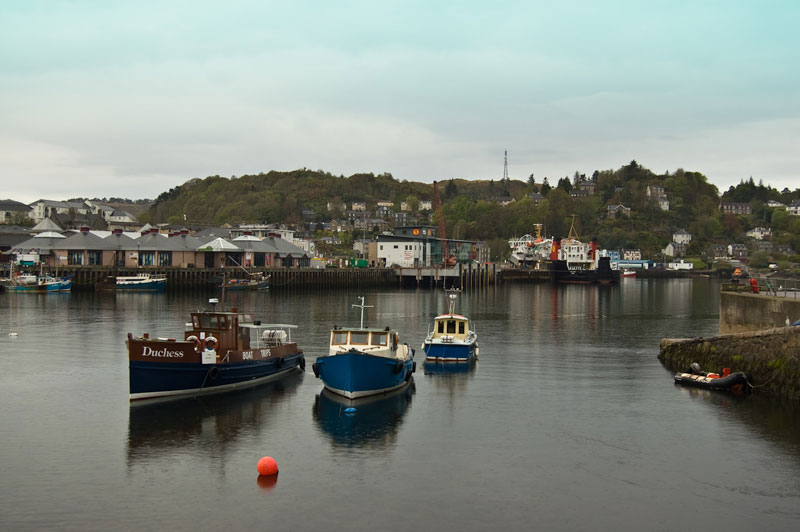 charter boats moored in Oban harbour
