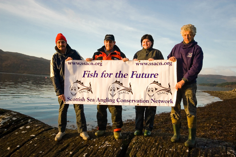anglers display a Fish for the Future banner