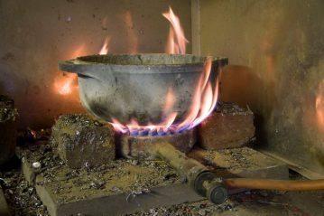 crucible on a gas burner