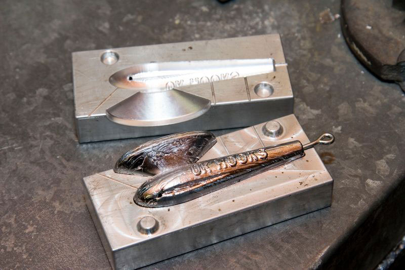 a fishing weight produced in a CNC cut mould