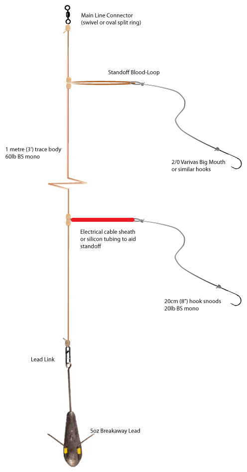 a diagram of a simple shore paternoster rig