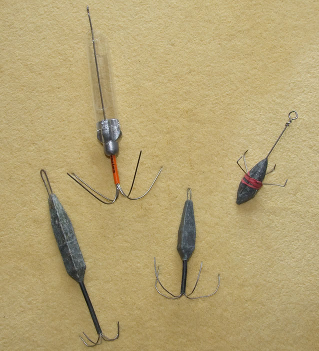 a selection of grip leads for winter fishing