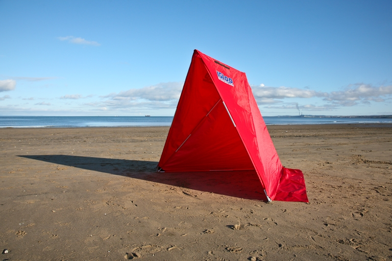 an Ian Golds red Igloo shelter