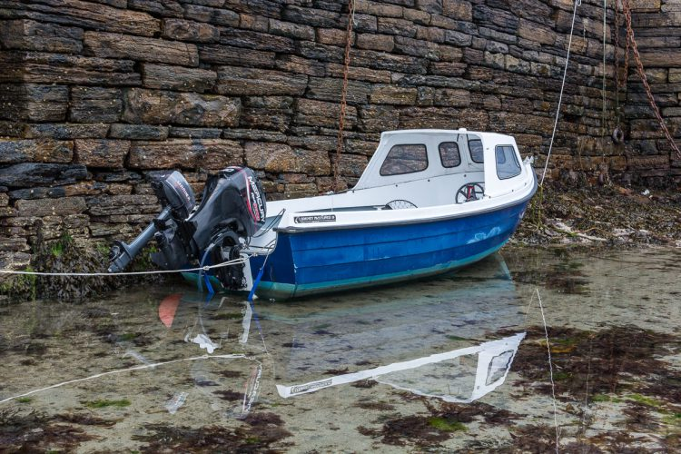 an Orkney boat moored