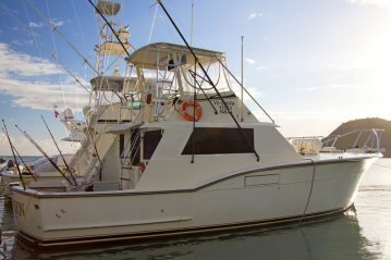 the Antigua charter boat Obsession in port