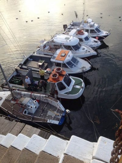 Boats rafted up ready for the competition