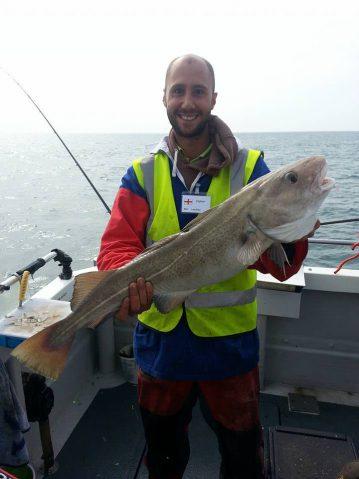 European Boat Championship Weymouth Luke with his cod