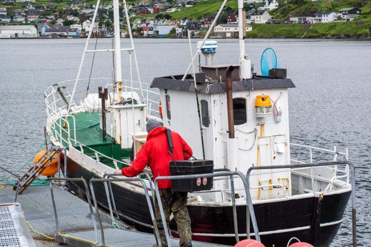 Ally bording the boat