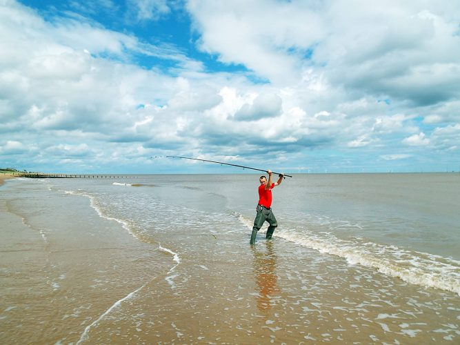casting on a Lincolnshire beach