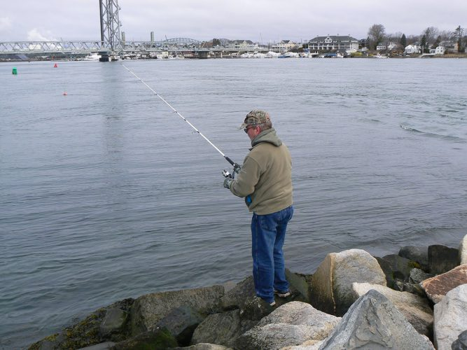 fishing the shore for winter flounder