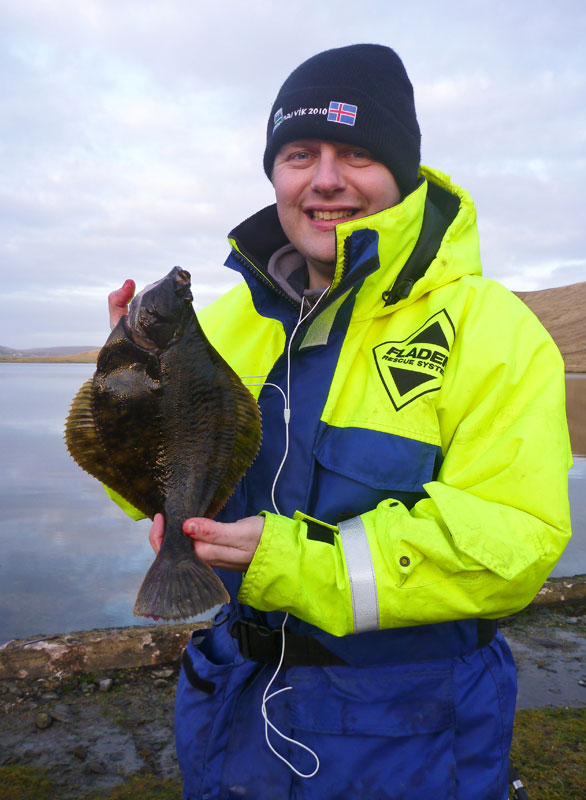Laurence Williamson with a sea loch flounder