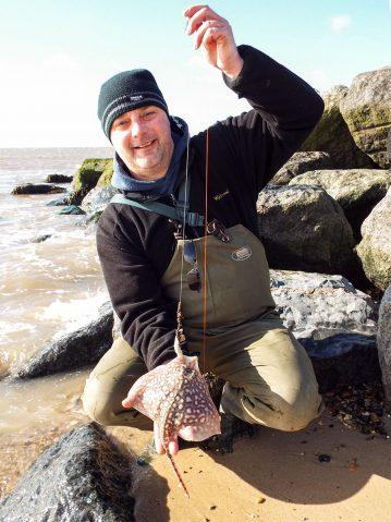 fishing St Osyth beach small thornback ray