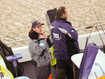 wibac boat fishing weymouth waterproofs on
