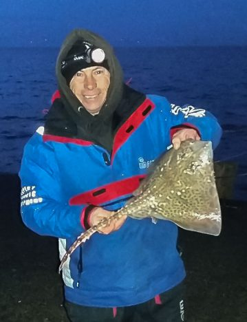 Michael Lloyd with one of his thornback ray from Clacton Pier