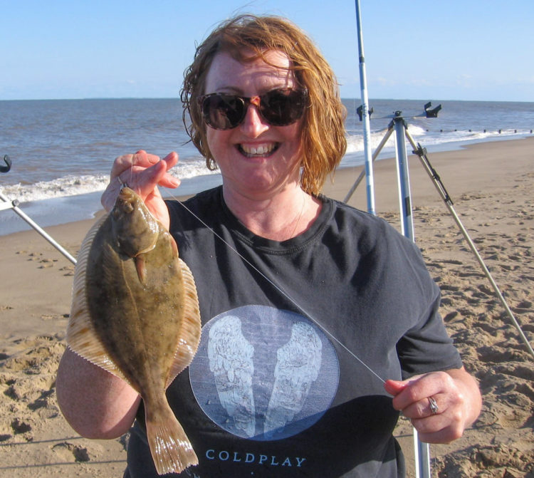 Tracy Cooper Adams with her biggest flounder