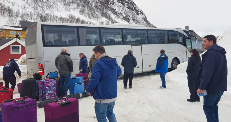 Boarding coach to start our long journey home