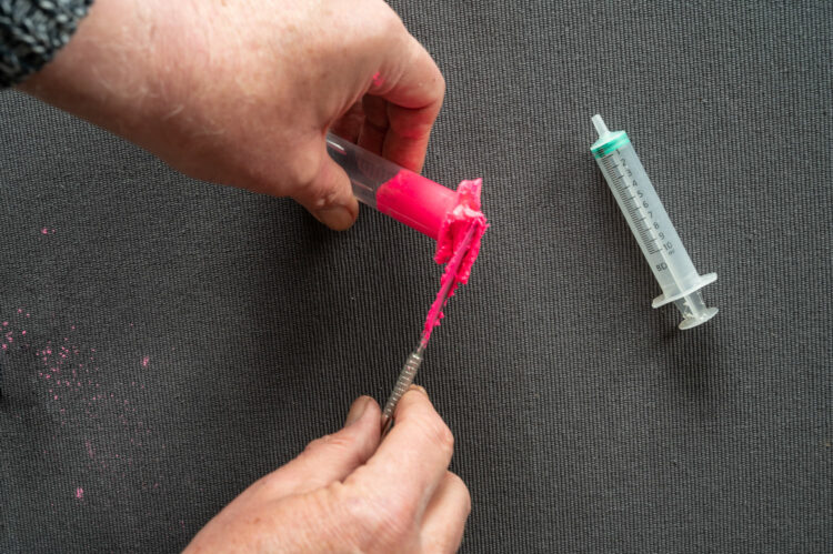 silicone fishing attractors - packing the syringe