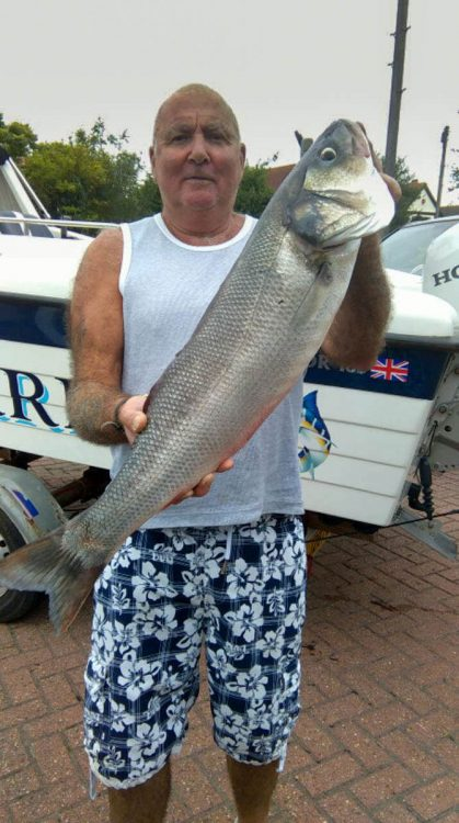 Dave Hollands with a bass of 11lbs caught on a squid  bait