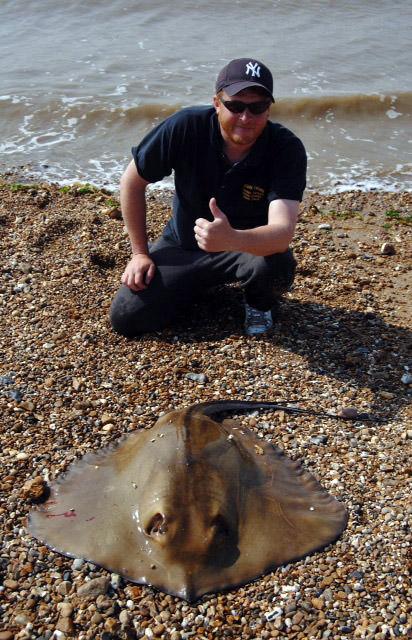 Local angler Matt Clark with his heavyweight stingray from St Osyth beach