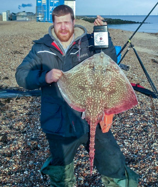 Mark Peters with an 11lb thornback ray