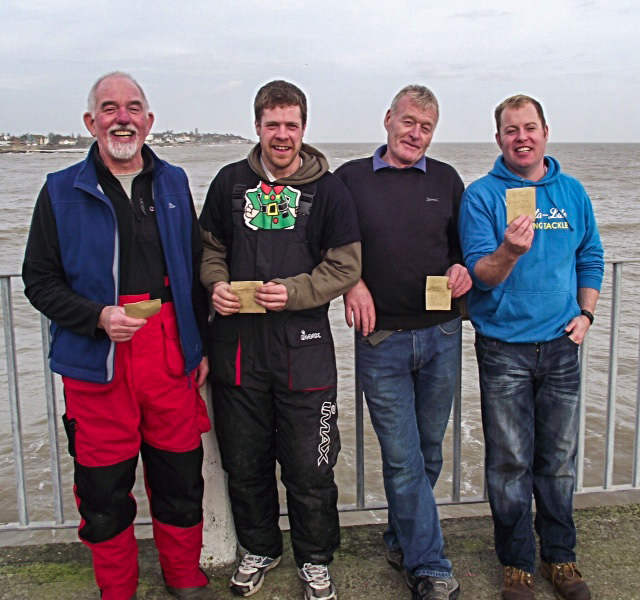 Winners of the Walton Pier Boxing Day competition. Left to right. Vic Pearce, Mark Peters, Richard Burt (winner) and Rob Tuck