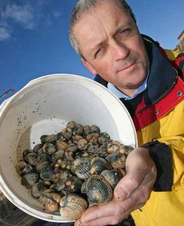 Steve Walker with the fruits of his cockle hunt