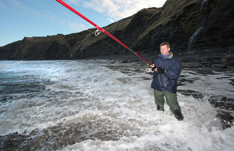 angle fishing the Yorkshire coast with long rod