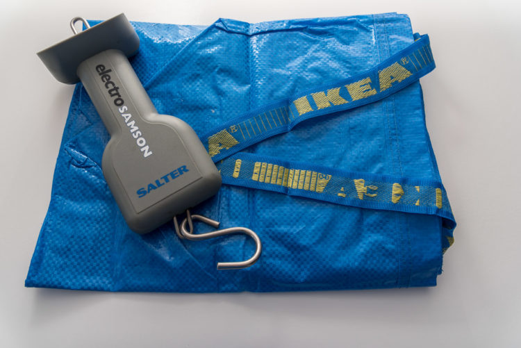Ikea weigh sling bag folded with scales