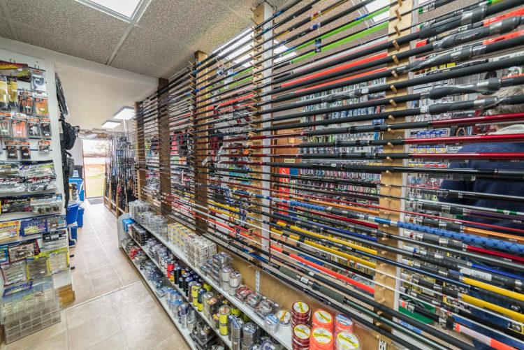 Chesil Bait N Tackle rod display
