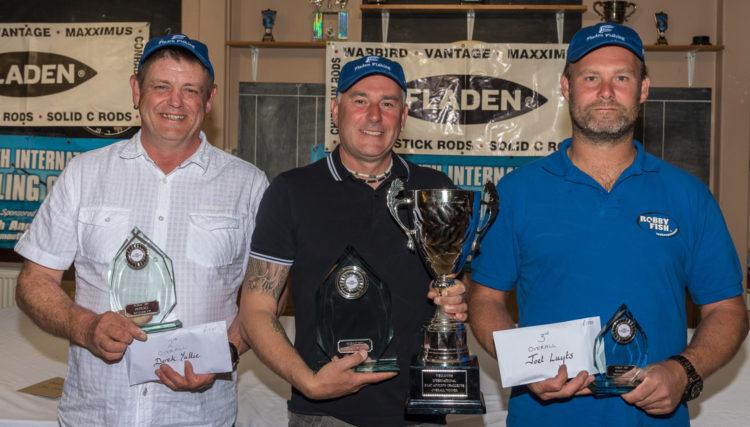 WIBAC top three L/R Derek Yuille, Champion Jon Law and Joël Luyts