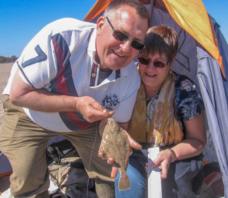 Russ and his wife Jacqui with a nice flounder